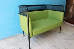 European Black Iron Industrial Pu Leather Restaurant 2 Seater Sofa, Living Room, Size: 48x30x32 Inch