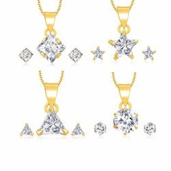 Ankur Lavish Gold Plated Solitaire Set of 4 Pendant Set Combo for Women