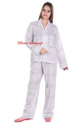 Ladies Night Wear Cotton Pajama Set Block Printed