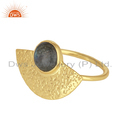 Handmade Gold Plated Texture Silver Flashy Labradorite Gemstone Ring