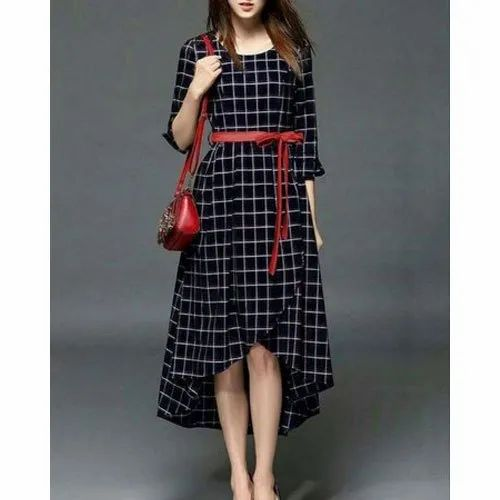 Check 3 4th Sleeves Ladies Designer Rayon One Piece Dress Packaging Type Box Rs 650 Piece Id 20858757662