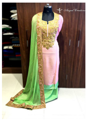 Green & Pink Casual Wear Zari Embroidered Suit