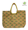 Jute Bag With Bicycle Print