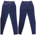 Ladies Dark Blue Plain Denim Jeans