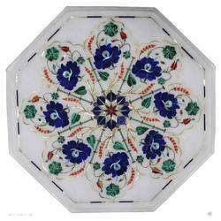 White Round Marble Inlay Table Top