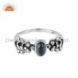 Blue Topaz Gemstone Designer 925 Silver Oxidized Rings