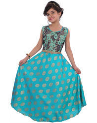 2-10 Years Girls Party Wear Printed Design Gown