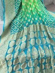 Green And Blue Silk Banarasi Jaal Design Saree, 6.3 m (with blouse piece), Machine Made