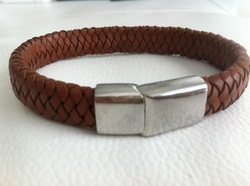 Men Brown Leather Wristband