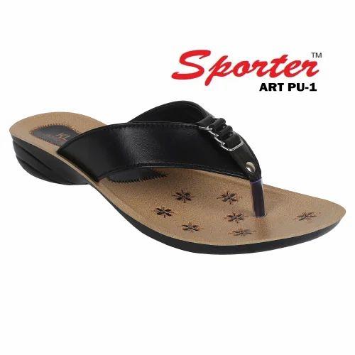 72758042c1e46 Ladies PU Slippers - Sporter Ladies Black PU Slipper Manufacturer ...