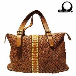 edcf2c197c64 Mon Exports Brown Deep Dye Leather Women s Handbag