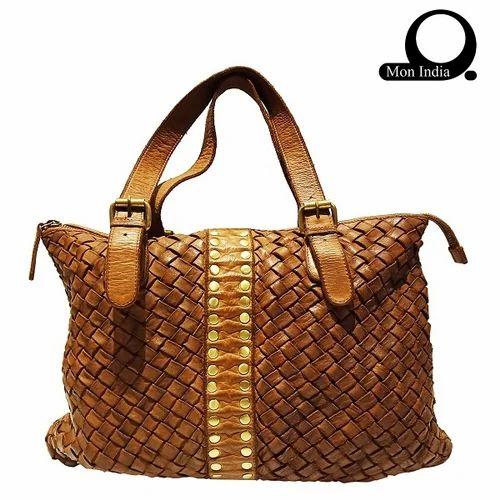 4e8c0241ec6e Mon Exports Brown Deep Dye Leather Women  s Handbag