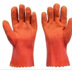 Orange Crinkle Latex Coated Glove, 12 Inch, Packaging Type: Packet