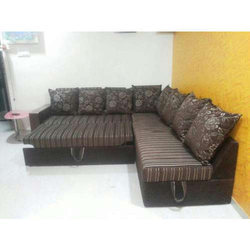 Wooden(Frame) L Shape Convertible Sofa Bed for Home