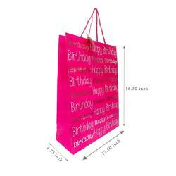 Fancy Gift Printed Paper Bag/Carry Bag/Gift Bag/ HAPPY BIRTHDAY PINK AND WHITE Large Pack Of 5 Bag
