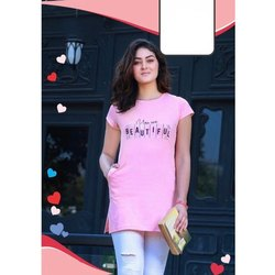 Pink Round Neck Ladies Long Top