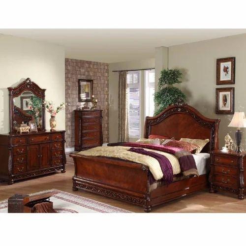 Cherry Wood Brown Luxury Bedroom Furniture