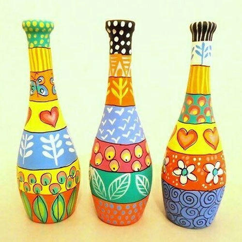 hand painted glass bottle - How To Paint Glass Bottle