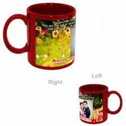 Ceramic Red Patch Printed Mug, for Gifting, Capacity: 11 Oz (325 Ml)