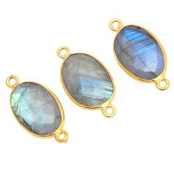 Labradorite Oval Shape Bezel Set Gemstone Connector