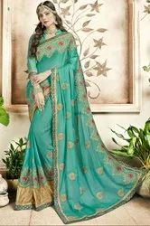 Aquamint Embroidered Partywear Saree