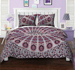 Pink Bedding Duvet Set Peacock Feather Quilt Cover