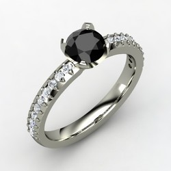 Solitaire Black Diamond Designer Ring