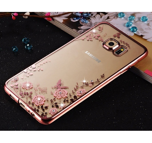 hot sale online 69328 d247a Auora Flower Case With Sparkle Crystals For Galaxy S7 Back Cover Rose Gold