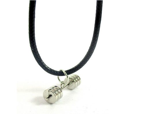 s black fitness necklaces fashion stainless men products dumbbell barbell bluegorillainc pendant steel gifts necklace jewelry grande