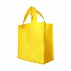 Yellow Plain Loop Handle Non Woven Bag for Shopping