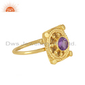 18K Gold Plated Vintage Design Silver Natural Amethyst Ring Jewelry