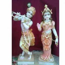 Painted Marble Radha Krishna Standing Statue