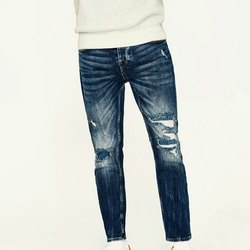 Denim Plain Mens Ripped Jeans, Waist Size: 30 - 36