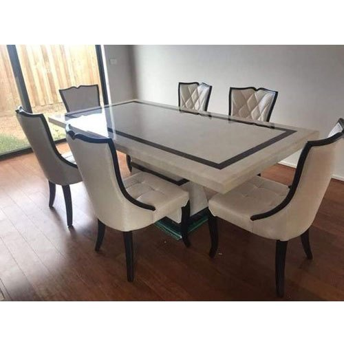 wooden leather 6 seater marble top designer dining table