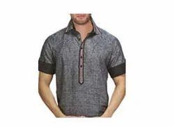 Gray Linen Mens Kurta Partywear