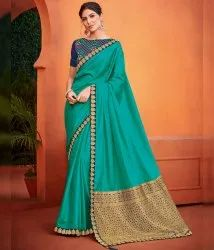 Shree Exports Festive Wear Turquoise Color Art Silk Classy Saree