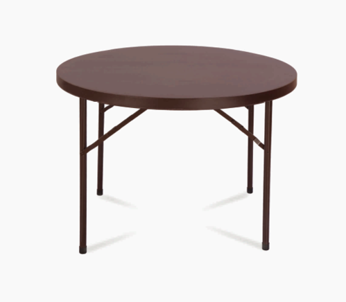 HDPE Brown Round Folding Table, Size: 42 X 29.25 Inch