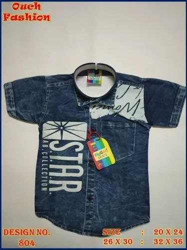 Printed Half Sleeves Kids Denim Shirt