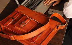 Brown Leather Messenger Bag, Laptop Bag, Shoulder Bag, Goat Leather Bag, Handmade Leather Bag, Pure Leather: Yes