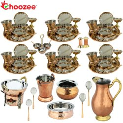 Choozee - Set of 6, Stainless Steel Copper Thali Dinner Set with Serveware, Copper Royal Jug and Mat