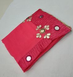Georgette Mirror Work And Hand Work Dark Pink Saree