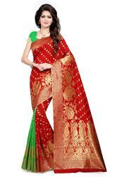 PR Fashion New Red & Green Lichi Art Silk Saree