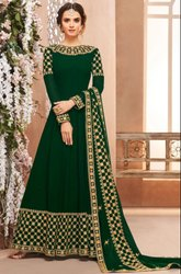 Bottle Green Heavy Anarkali With Georgette Dupatta