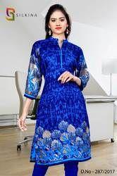 Blue Italian Crepe Uniform Kurti