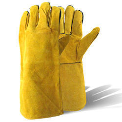 Yellow ANsell Work Guard Leather Gloves 18, Cuff Length: 16-20 Inches