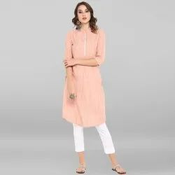 Janasya Women's Peach Pure Cotton Kurta