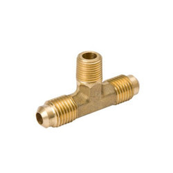 Brass And Tee Right Angle Two-Way NPTFE To Flare To Flare