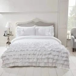 Stock Only As Available Fitted Sheet Flat Sheet With 2 Pillow Cover  White Satin Weave Set  USD 8.00