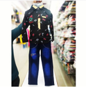 Cotton(shirt), Jeans(pant) Full Sleeves Party Wear Kids Pant Shirt Set