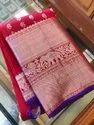 Indian Ethnic Designer Red Kanchipuram Silk Party Wear Saree